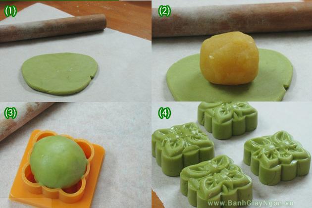 Bánh trung thu đậu xanh - Làm vỏ, nhân, nặn bánh